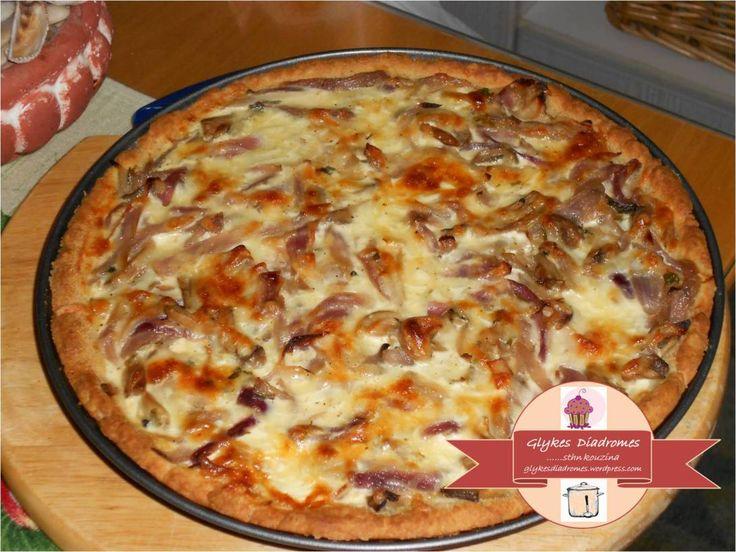 Onion - Mushroom tart / glykesdiadromes.wordpress.com