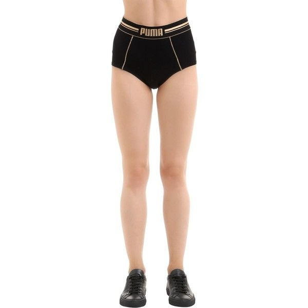 Puma Underwear Women 2 Pack Gold Logo High Waisted Briefs ($34) ❤ liked on Polyvore featuring intimates and black