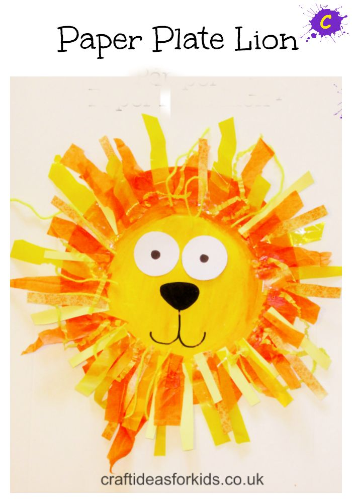A fabulous Paper Plate craft for young kids, using a range of materials to create a wacky and wild Lion's mane!