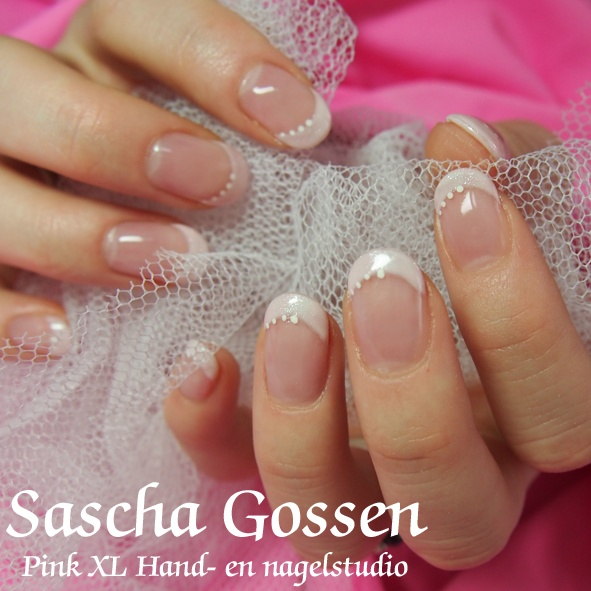 French Manicure with CND Shellac Studio White and Grapefruit Sparkle. (And little dots)