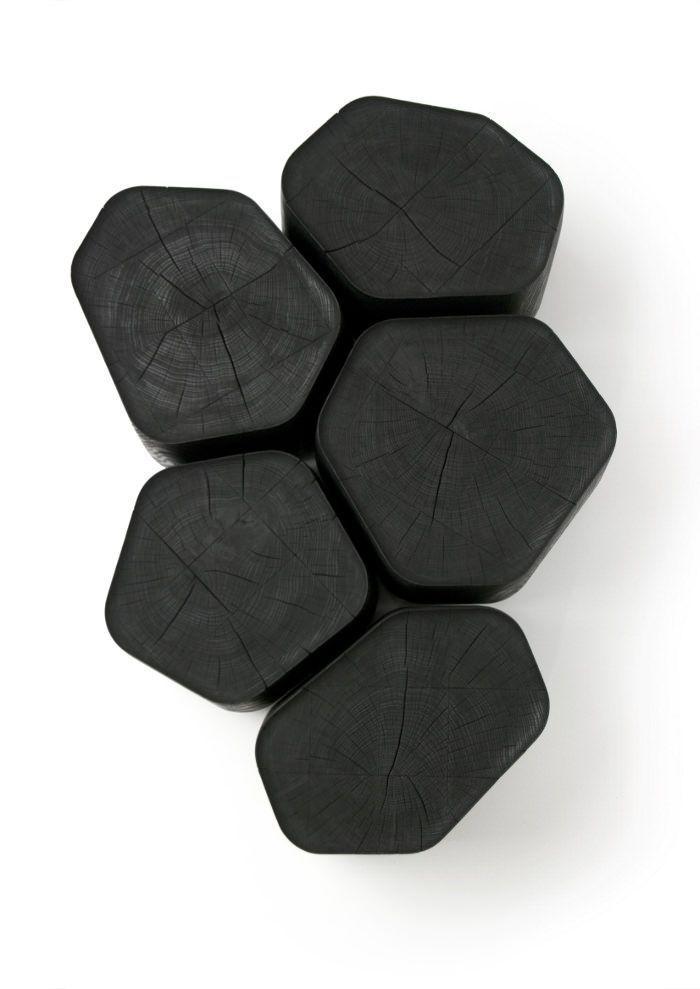 Basalt Tables Basses En Bois Brule Par Normal Studio Black Wood Pattern Living Rooms Bois Brule Table Basse Bois Table Basse