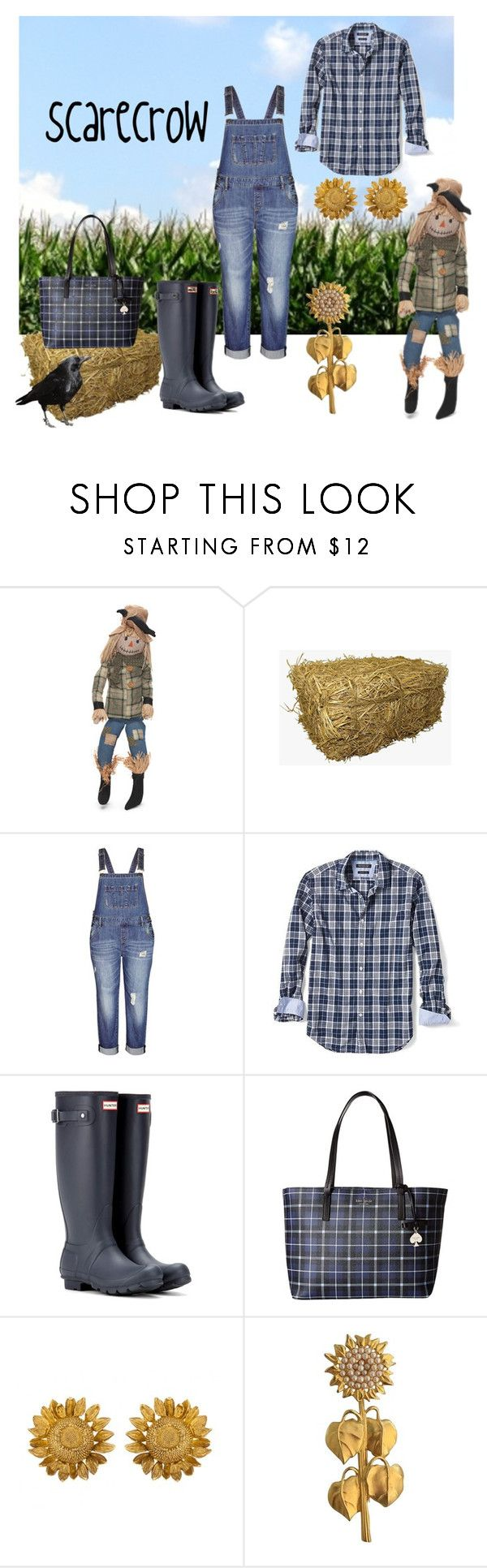 """""""Scarecrow"""" by wheredidyougetthat ❤ liked on Polyvore featuring City Chic, Banana Republic, Hunter, Kate Spade, Karl Lagerfeld, Fall, plaid and overalls"""