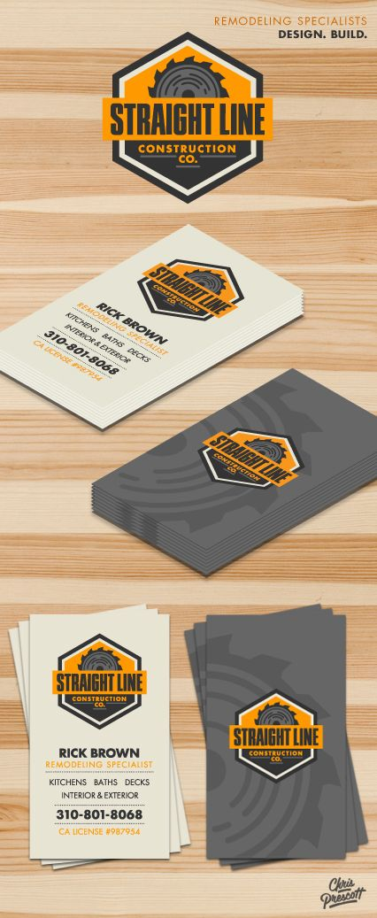 Straight Line Construction Company is a retro / vintage  logo / branding business card design project by Milwaukee Graphic Designer Chris Prescott.  The logo features a saw blade with orange & grey colors.  cprescott.com #graphicdesignerchrisprescott