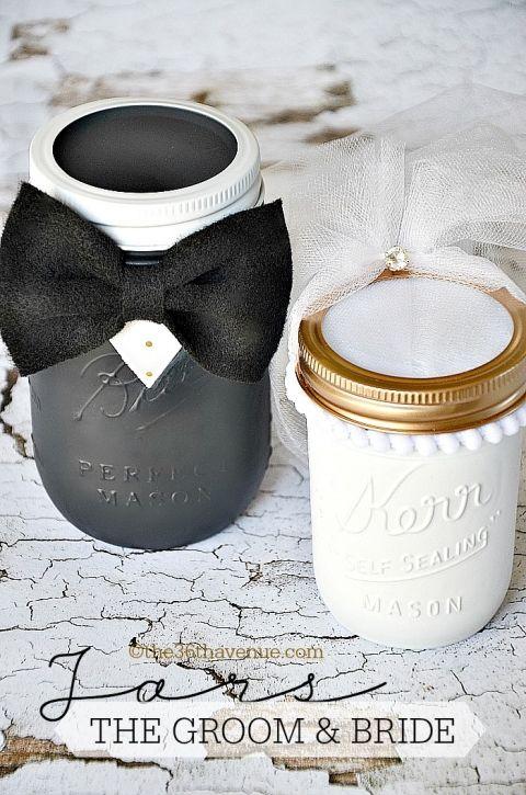 Mason Jar Crafts- DIY Groom and Bride Jars at the36thavenue.com Cutest wedding gift ever!