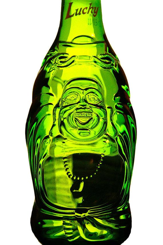 Lucky Buddha Beer Bottle Glasses by LiquorLuminations on Etsy, $20.00