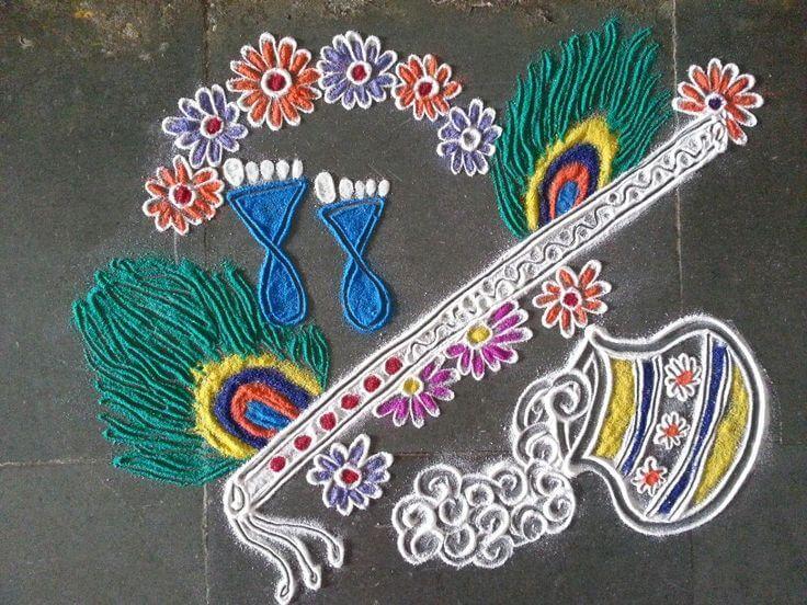 Krishna Janmashtami Rangoli designs with colours and dots - K4 ...