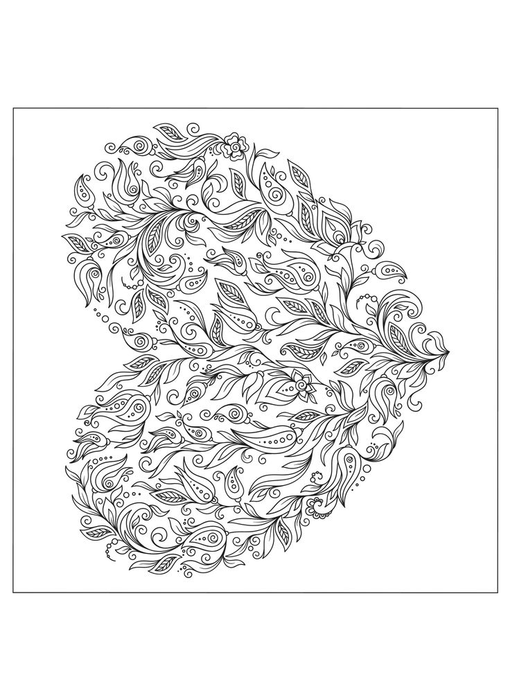 heart valentines abstract doodle zentangle paisley coloring pages colouring