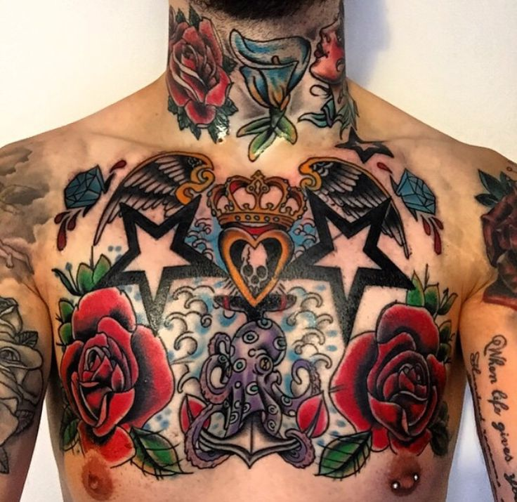 Chest tattoo with the throat and neck tattoo tatto for Chest and neck tattoos