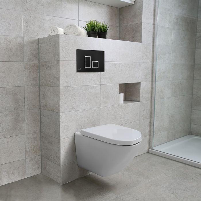 Toilette Suspendue A Evacuation Double Avec Plaque De Controle