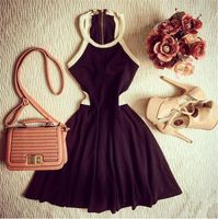 Mulheres verão preto sem mangas plissados uma linha Vestidos sezy Skater vestido 2016 moda elegante vestido de verão