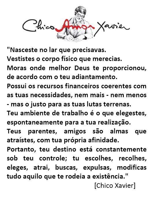 Chico Xavier com suas palavras simples  para refletirmos...