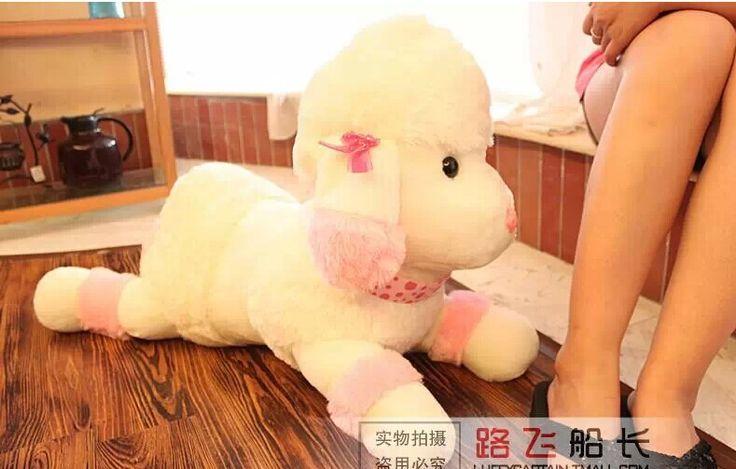 Big прекрасная игрушка-собачка бежевый и розовый пудель собака милые вещи с бантом собака кукла около 55 см