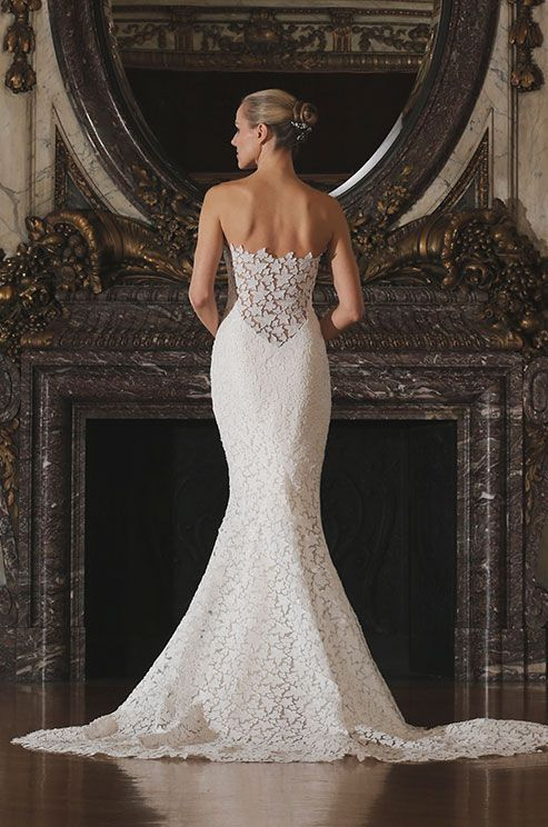This lace wedding dress from Romona Keveza Luxe Bridal Collection is so unique! Click to view the full collection.