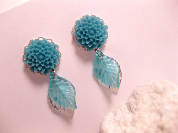 Teal Flower Silver Leaf Earrings by FashionCrashJewelry on Etsy