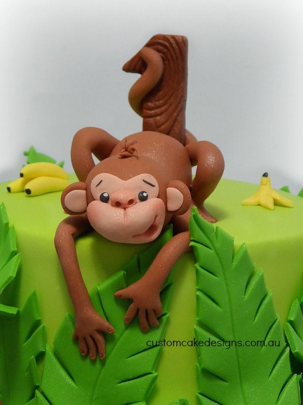 This cake was made for little Joshua who is a cheeky little monkey himself and is celebrating his first birthday. His mum wanted a monkey themed cake as Joshua loves monkeys, has his room decorated...