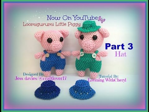 Rainbow Loom HAT Little Piggy Part 3 of 3 ( Pig ) Loomigurumi / Amigurumi Hook Only Лумигуруми - YouTube