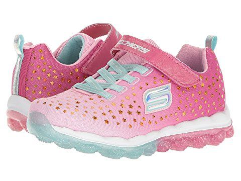 be7d20fff894 Skechers Little Girls  sparkled Stars jumpstar pink and aqua air cooled memory  foam glitterbeam Velcro sneakers size 13.5.