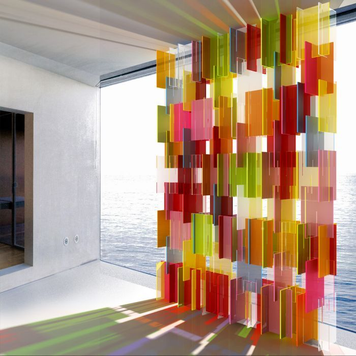 A contemporary and 3dimmensional approach to a stain glass window. This wall of colored light and shadow is interactive and lifts my spirit up to the heavens!
