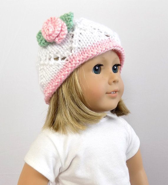 Knit Doll Hat 18 Inch Doll Accessories Girl by PreciousBowtique