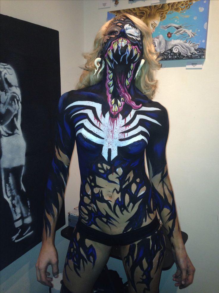 venom body paint ashley simone kimberly bucki halloween. Black Bedroom Furniture Sets. Home Design Ideas