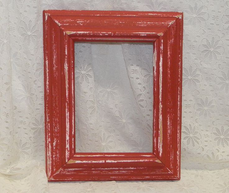 how to paint wood frames antique red | Farmhouse Red Picture Frame Vintage Reclaimed Wood Distressed Rustic ...