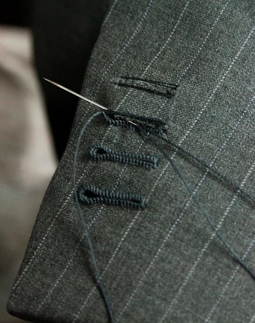 """While researching about bespoke menswear tailoring to be interoperated in womenswear collection ,this photograph in particular represents the amount of precision , time, patience and attention to detail that goes into the construction of a single piece. Now I know """"If its expensive , Its expensive for a reason""""   AMEN!!!!"""