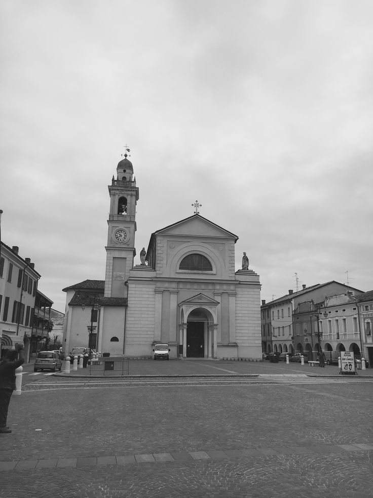 The main square of Brescello the little village of the famous movie Don Camillo.