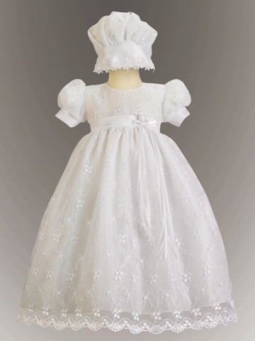 Emma Embroidered Tulle Girl White LDS Blessing Dress