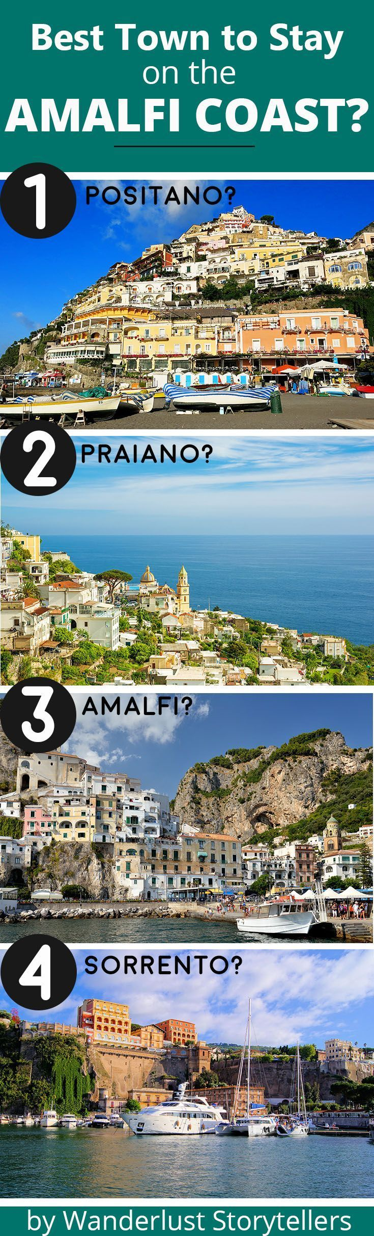 Wondering which is the best town to stay at on the Amalfi Coast?  Click to read our guide that contains a comparison table as well as helpful points to help you choose. Travel in Europe.