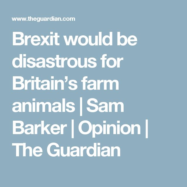 Brexit would be disastrous for Britain's farm animals | Sam Barker | Opinion | The Guardian