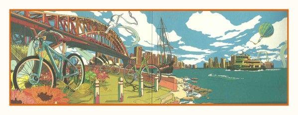 Je trouve que cette carte illustre joliment : le pont HARBOUR, l'Opéra de sydney, et nos ferries ( qui pourrait être celui que je prenais de balmain!). C'est une carte de pub pour un magasin de vélo: pour les femmes! ( Clerence St Cyclery Women's) Il...