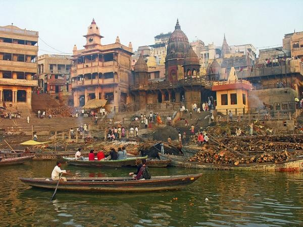 Varanasi's ghats are large stone steps constructed along the banks of India's holy river, the Ganges. For centuries, people have been coming here to pray, meditate, bathe and, famously, cremate their dead. The larger of the burning ghats, Manikarnika (where these photographs were taken), is believed to host around 200 cremations in a single day.