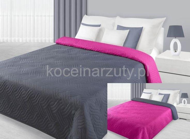 Narzuta na łóżko dwustronna w kolorze szaro amarantowym