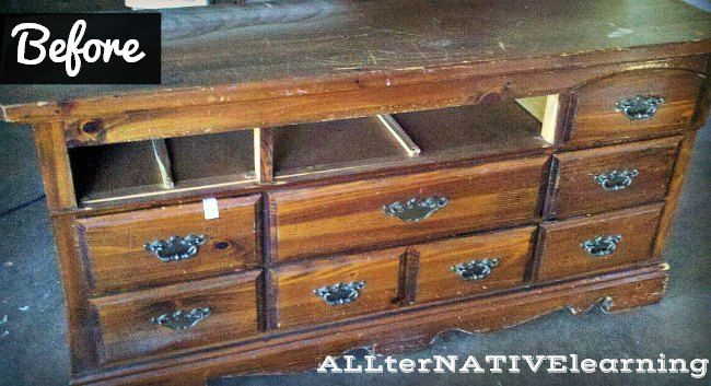 Learning about pregnancy and child-appropriate paints and enamels... How to refinish a dresser and turn it into a changing table | ALLterNATIVElearning.com