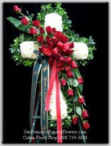 Cross White Carnations Red Roses Funeral Flowers, Sympathy Flowers, Funeral Flower Arrangements from San Francisco Funeral Flowers.com Search for chinese funeral, sympathy funeral flower arrangements from our SanFranciscoFuneralFlowers.com website. Our funeral and sympathy arrangements include crosses, casket covers, hearts, wreaths on wood easels, coronas fúnebres, arreglos fúnebres, cruces para velorio, coronas para difunto, arreglos fúnebres, Florerias, Floreria, arreglos florales, corona…
