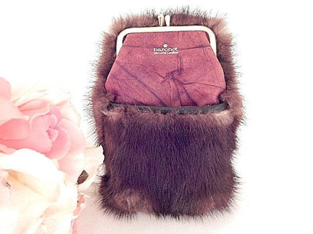 Cigarette Case Baronet Genuine Leather Brown Fur Vintage Tobacciana LIghter Pouch Coin Purse Women's Accessory