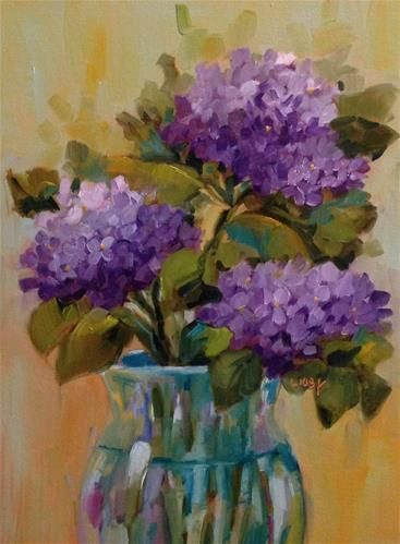 """Daily Paintworks - """"Hydrangea Magic"""" - Original Fine Art for Sale - © Libby Anderson"""