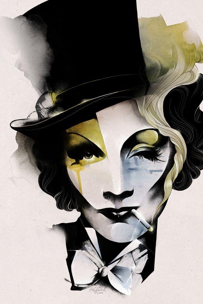 Marlene Dietrich portrait by Alexey Kurbatov