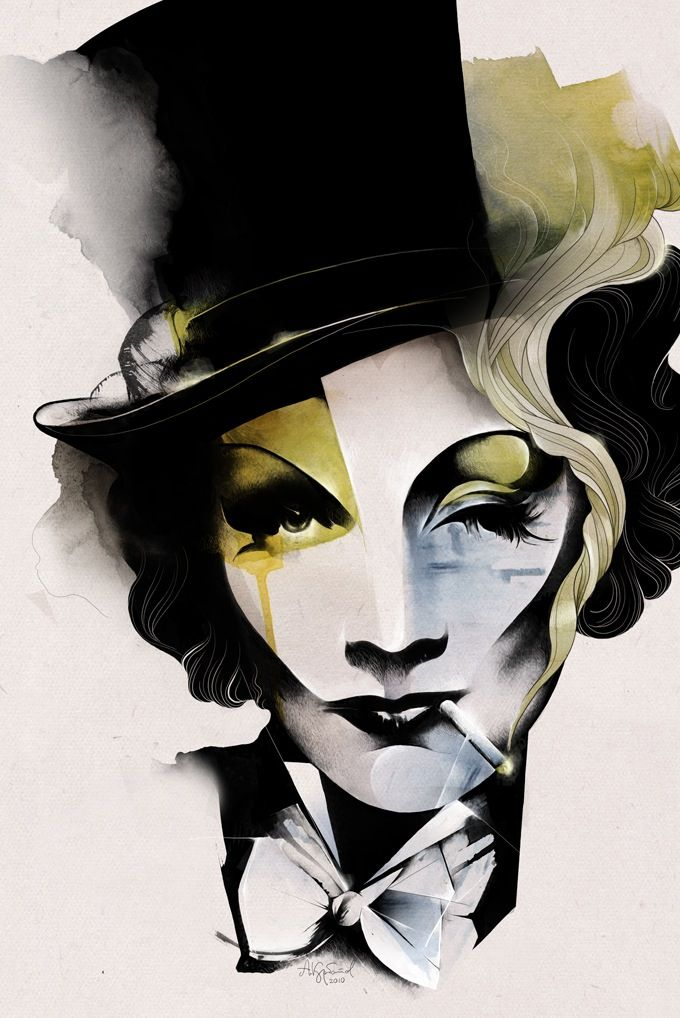 Marlene Dietrich portrait by Alexey Kurbatov: Alexey Kurbatov, Illustration, A Tattoo, Alexeykurbatov, Celebrity Portraits, Marlene Dietrich, Tops Hats, Alex O'Loughlin