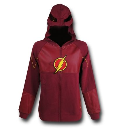 The 60% cotton 40% polyester Flash TV Show Suit-Up Costume Zip-Up Hoodie is based on DC Comics' Scarlet Speedster and one way to tap into the universal Speed Force!