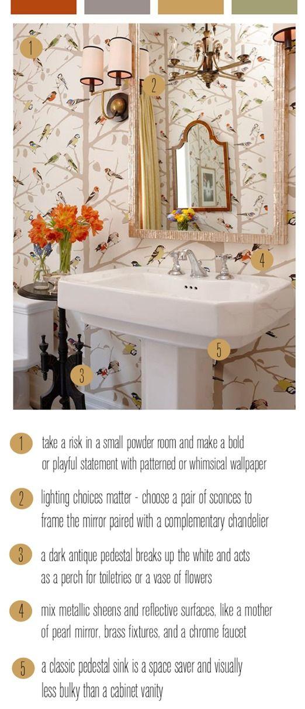 Add a contrasting pedestal table alongside a pedestal sink for added storage. #powderroom #halfbath