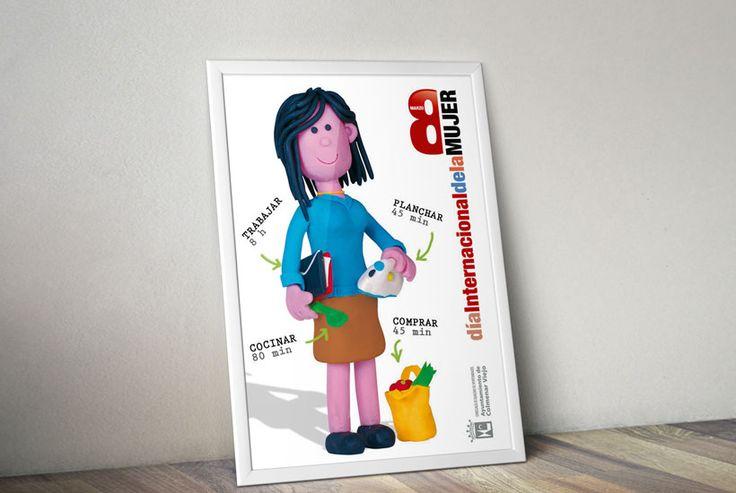 Campaña del día 8 de marzo, día de la mujer trabajadora hecha de plastilina. Cartel  #disenografico #FelizDiaDeLaMujer #Diamujertrabajadora #8demarzo