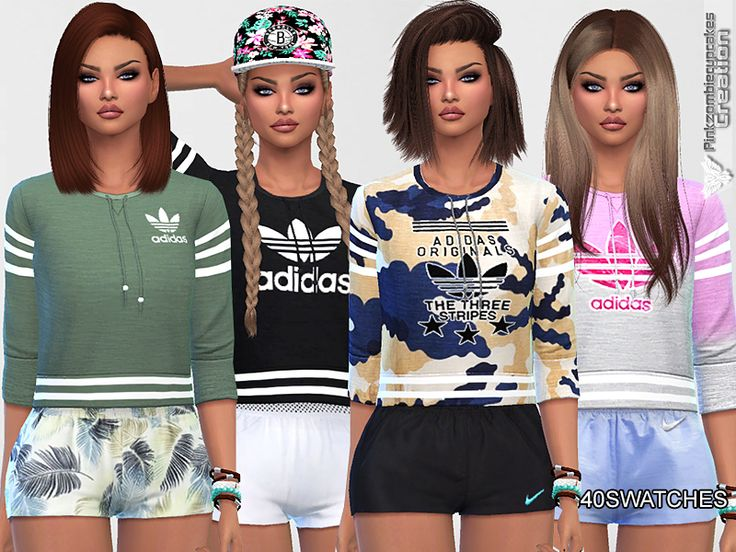 Cute Adidas collection,available in many designs and colors,has 40 swatches. Found in TSR Category 'Sims 4 Female Everyday'