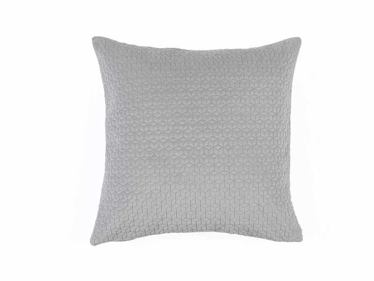 Grey Quilted Cushion Cover - Soft velvet textured cushion cover featuring a modern geometric quilted pattern.