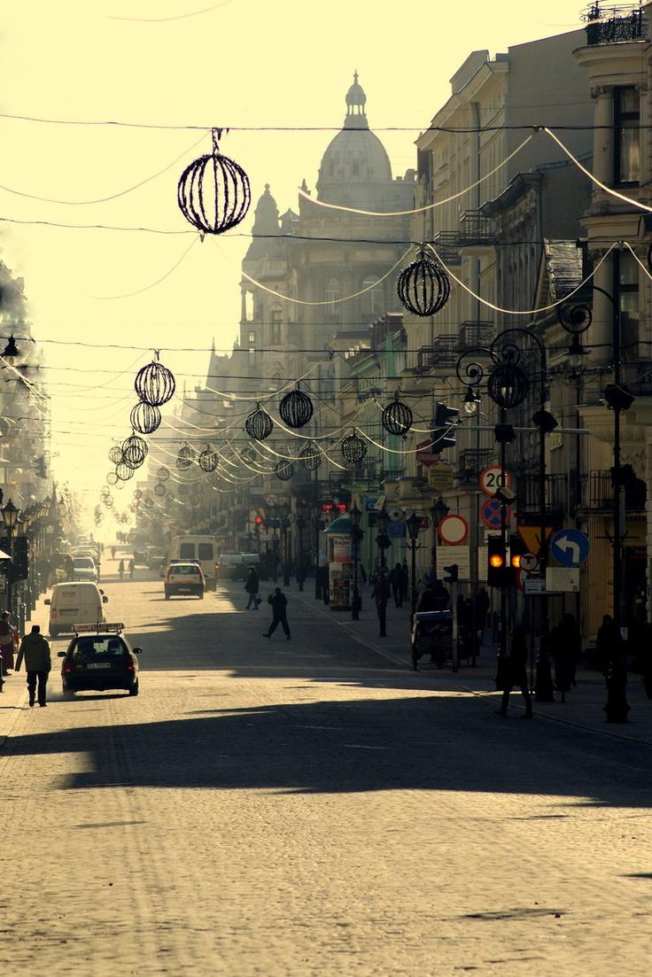 Famous Piotrkowska Street in Łódź