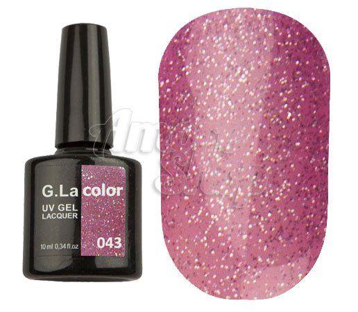 Цвет: №043 Нежно-розовый с голографическими блестками Объем: 10 мл G.La Color - гель-лак для покрытия натуральных ногтей, полимеризуется в УФ лапе или ЛЕД аппарате, ноносится и снимется по классической технологии, как и все гель-лаки. Является самым близким аналогом гель-лака CND Shellac. Гель-лаки G.La Color производятся в Англии. Они имеют такой же флакон и кисточку, как Шеллак. Линейка этих гель-лаков состоит из Базового покрытия, Закрепителя и 80 цветов.