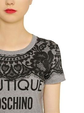 boutique moschino - donna - t-shirt - t-shirt in jersey di cotone stampa pizzo