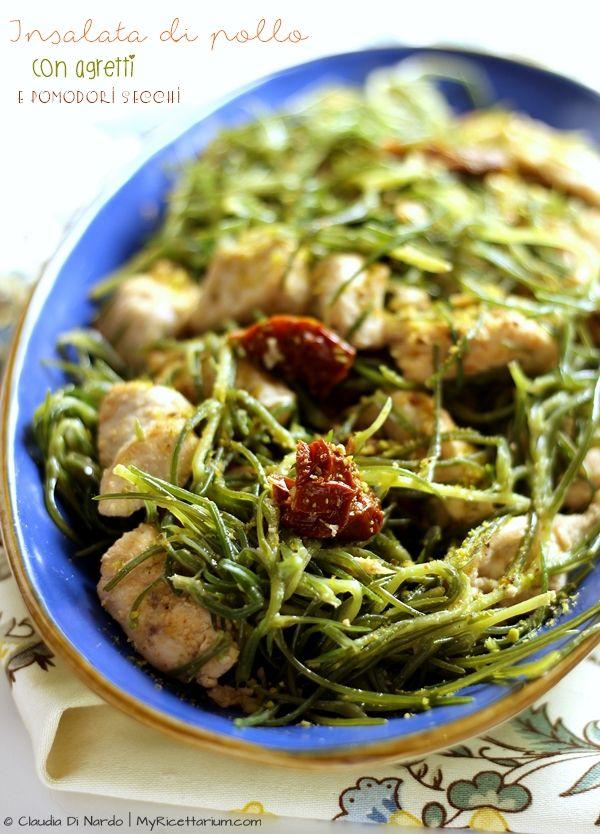 My Ricettarium: Insalata di pollo con agretti e pomodori secchi