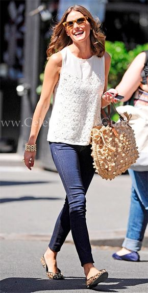Get Olivia Palermo's Pulled-Together Spin On Everyday Jeans With A Seasonally Chic White Blouse