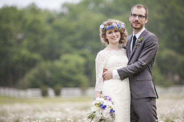 Eleanor's French chantilly lace short wedding gown was complimented by her gorgeous blue floral crown. Love this couple's style - it seems so effortless! Gown by Janice Martin Couture - www.janicemartin.net  Photograph by Love Me Do Photography